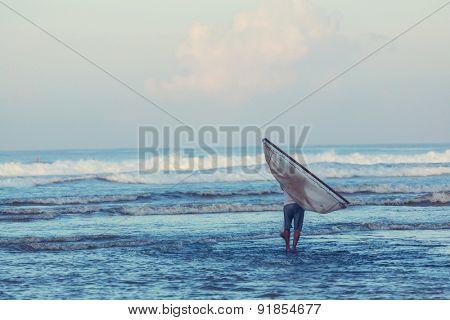 Fisherman on the beach  in Bali, Indonesia