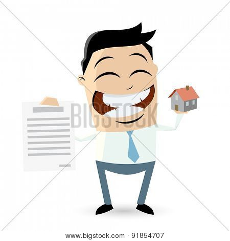 funny businessman with house and contract