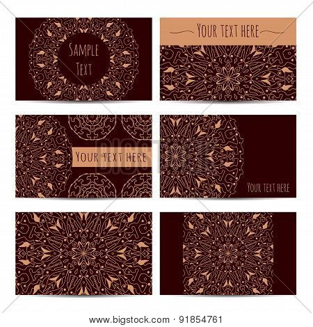 Collection Of Business Vintage Card With Oriental Round Ornaments