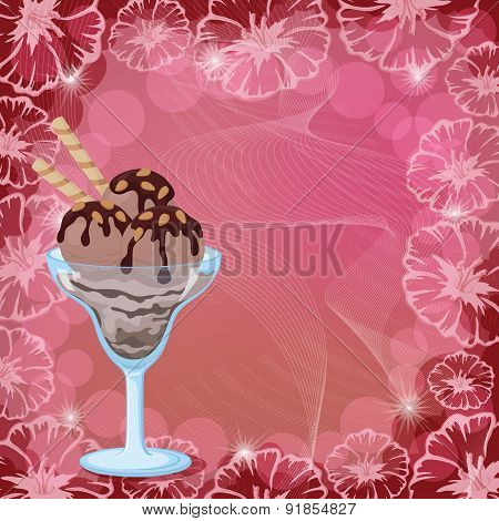 Ice Cream, Waffles and Nuts on Floral Background