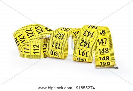 Yellow Measuring Tape Isolated On White Background.