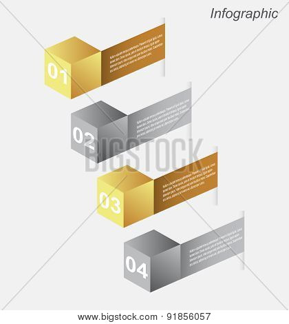 Info-graphic design templates in the form of a 3D box. Idea to display, ranking and statistics.