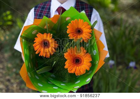 The School Student With Flowers, A Close Up