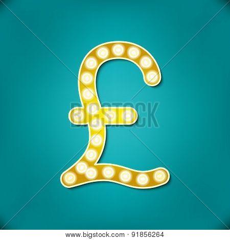 Vector Illustration Retro Signboard Alphabet Including Special  Pound