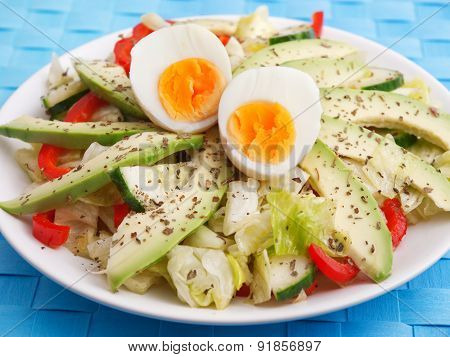 Salad With Avocado, Peppers And Eggs