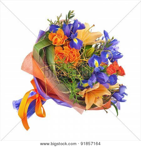Flower Bouquet From Roses, Lilies And Iris.