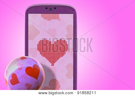 Pink smartphone and hear shapes. Idea for Valentines Day messages, love, lovers, love apps, Internet, blogs and others.