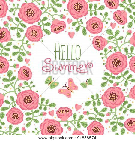 Season card Hello Summer with cute flowers and butterflies