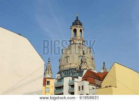 Frauenkirche Dome Above Modern Back Facades Of Quarter Iii, Dresden.