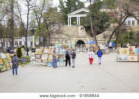 Kislovodsk. Monument Lermontov And Artists On The Square