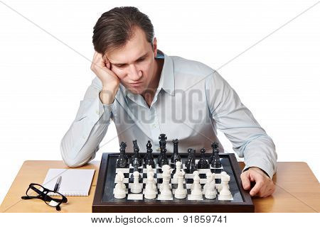 Man Playing Chess Isolated