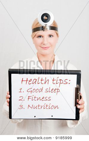 Beautiful Female Doctor Giving Health Tips - Text Sleep, Fitness, Nutrition