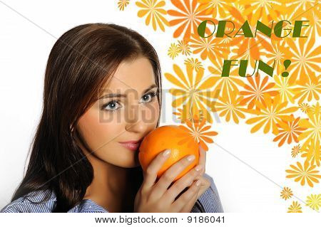 Young Beautiful Woman With Citrus Orange Fruit Having Fun.
