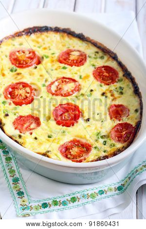 Courgette, Peas, Cheese And Tomato Frittata