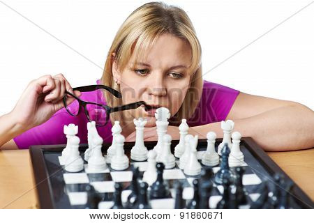 Woman Playing Chess Isolated