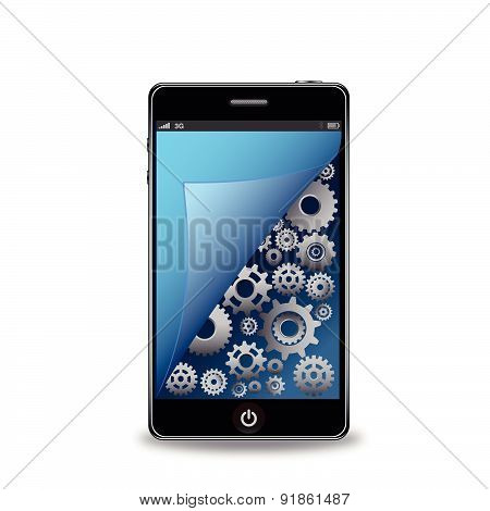 Smart phone with gears