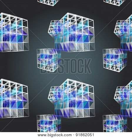 Textile Seamless Pattern Of Cubes With White Texture Triangles