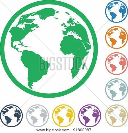 Icons of colorful globes