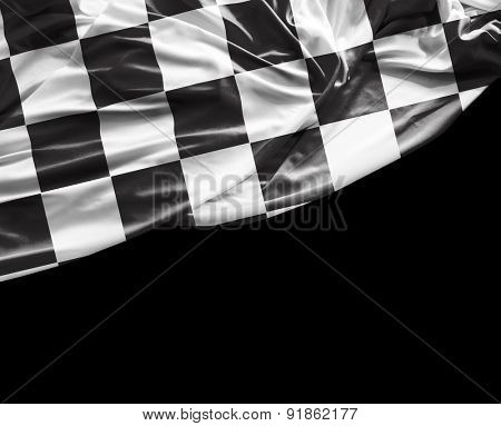 Checkered flag on black background