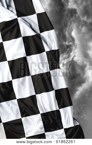 Checkered flag on a beautiful bad background