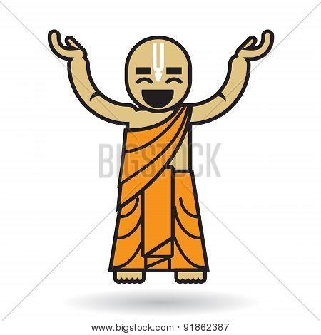 Dancing Hare Krishna man icon