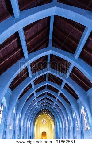Blue Light On Arches From Stained Glass