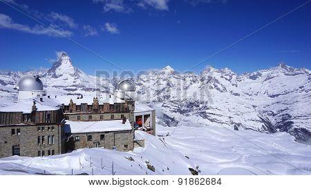 Gornergrat Train Station And Matterhorn Peak In The Background