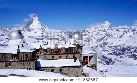 Gornergrat Train Station With Matterhorn Peak