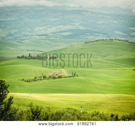Typical Landscape Of The Tuscan Hills In Italy