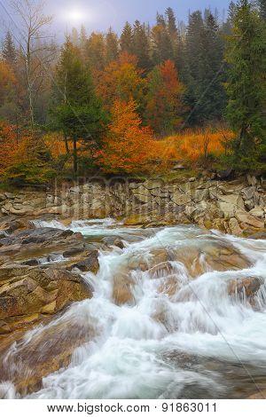 Mountain River In Autumn At Sunrise