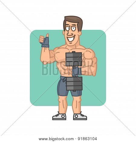 Bodybuilder holding dumbbell and showing thumbs up