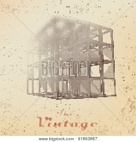 Abstract Background Of Vintage Cage On Faded Worn Paper