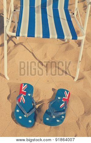 beach chair with sandals