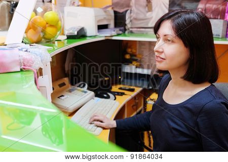 portrait of a girl cashier