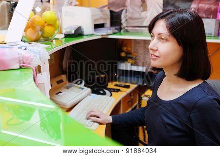 portrait of a girl cashier