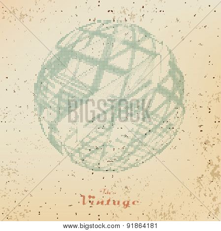 Abstract Vintage Background Ball With Raster Dots On Faded Old P