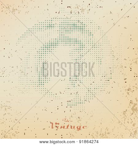 Abstract Vintage Background Raster Dots On Faded Old Paper
