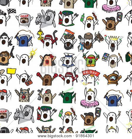Textile Seamless Pattern Of Internet Memes Nichosi