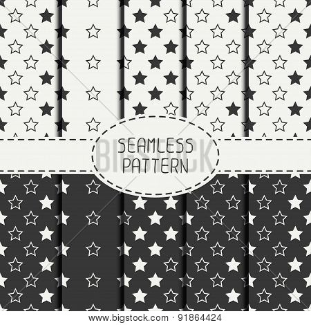 Set of geometric seamless stars pattern. Collection of wrapping paper. Paper for scrapbook. Tiling.