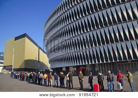 Bilbao, Spain - May 28, 2015: People queueing for a ticket at San Mames football stadium