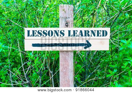Lessons Learned Directional Sign