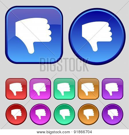 Dislike, Thumb Down, Hand Finger Down Icon Sign. A Set Of Twelve Vintage Buttons For Your Design. Ve