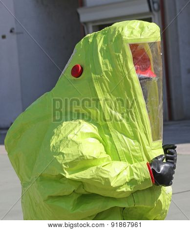 Person With Protective Suit To Work In Presence Of Asbestos