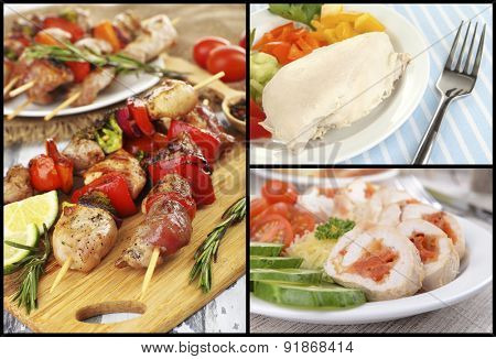 Collage of various meals with meat
