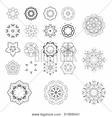 Set of vector monochrome flower mandala on a contrasting background. Snowflake