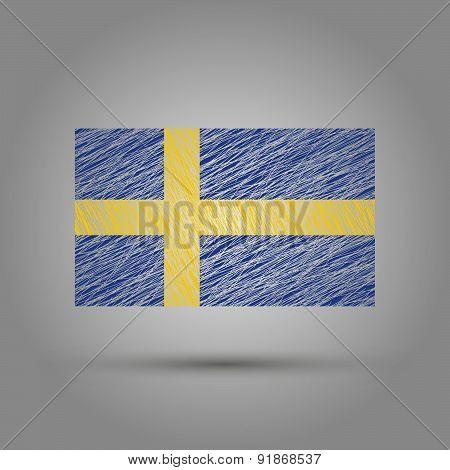 Flag of Sweden. Scratched texture.