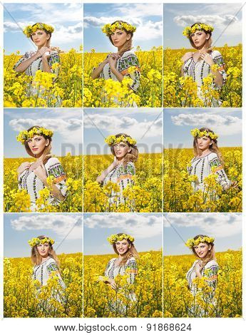 Young girl wearing Romanian traditional blouse posing in canola field with cloudy sky in background