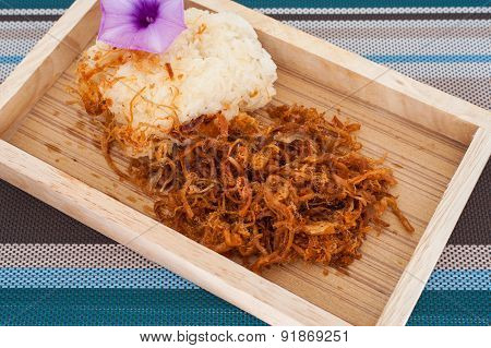 Sticky Rice With Fried Pork In, Thai Food