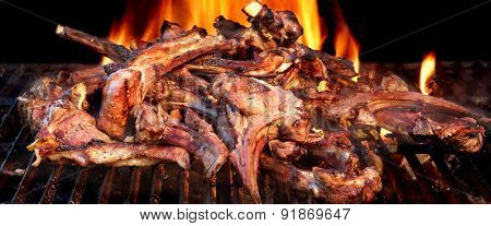Racks Of Lamb On The Hot Flaming Bbq Grill