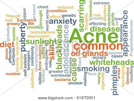 Background concept wordcloud illustration of acne